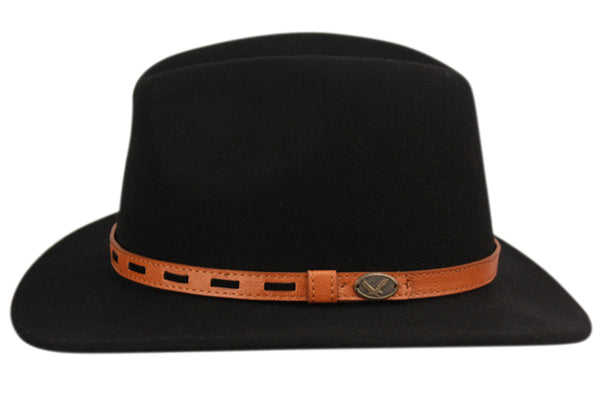 Wool Felt Outback Fedora Hats With Leather Band-GDP3544