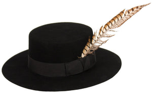 Wholesale Bulk Pack Flat-Top Felt Hats With Grosgrain Band & Feather Trim-GDP3555