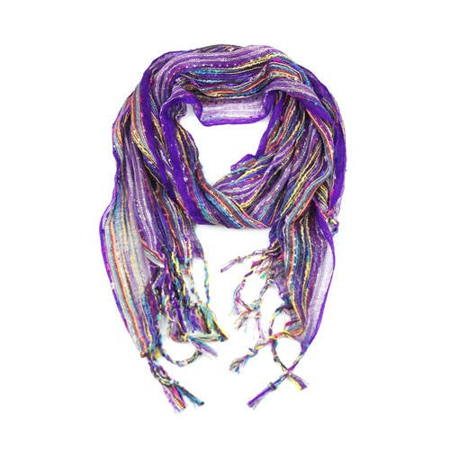 Wholesale Bulk Pack Women's Boho Metallic Scarf - Purple-GDP108