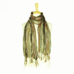 Wholesale Bulk Pack Women's Boho Metallic Scarf - Brown-GDP104