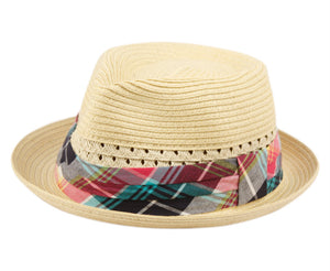 Wholesale Bulk Pack Kids Paper Straw Fedora Hats With Fabric Band-GDP3404