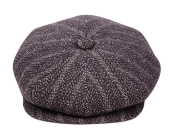 Wholesale Bulk Pack Herringbone Wool Blend Stripe Newsboy Cap-GDP1038
