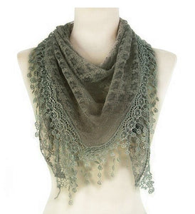 Wholesale Bulk Pack Lace Triangle Scarf Light Gray GDYH07-04
