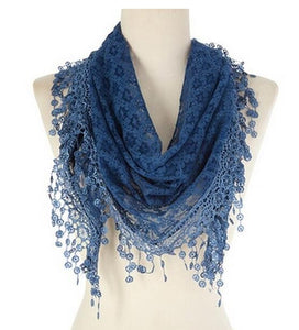 Wholesale Bulk Pack Lace Triangle Scarf Blue GDYH07-05