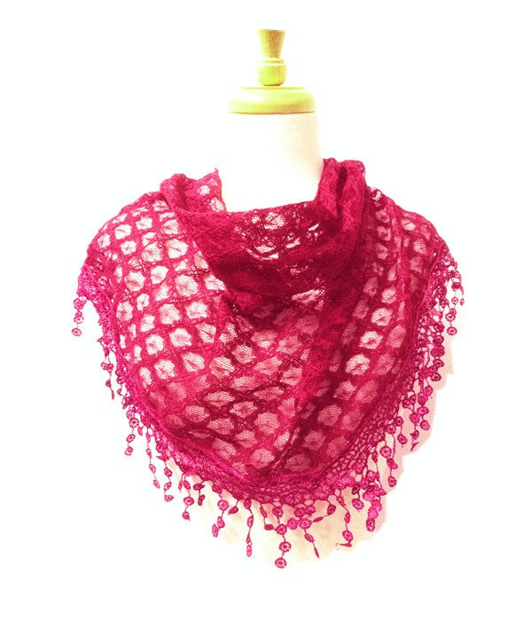 Wholesale Bulk Pack Lace Triangle Scarf Hot Pink GDYH07-09
