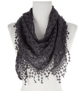 Wholesale Bulk Pack Lace Triangle Scarf Dark Gray GDYH07-10