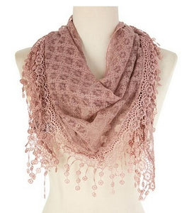 Wholesale Bulk Pack Lace Triangle Scarf Pink GDYH07-12