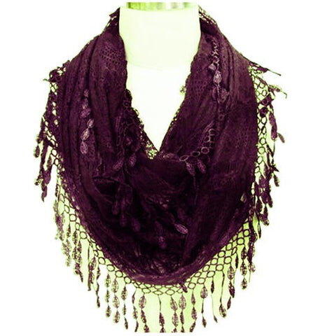 Wholesale Bulk Pack Lace Infinity Scarf Darkpurple  GDYH15-05