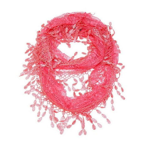 Wholesale Bulk Pack Lace Infinity Scarf Coral  GDYH15-100