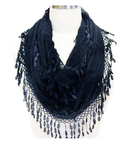 Wholesale Bulk Pack Lace Infinity Scarf Navy Blue  GDYH15-101