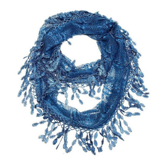 Wholesale Bulk Pack Lace Infinity Scarf Blue  GDYH15-14
