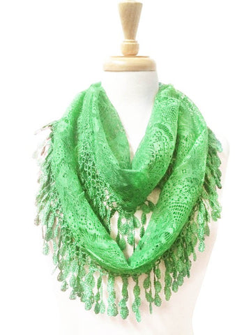 Wholesale Bulk Pack Lace Infinity Scarf Green  GDYH15-34