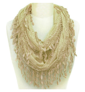 Wholesale Bulk Pack Wholesale Lace Infinity Scarf Taupe  GDYH15-51