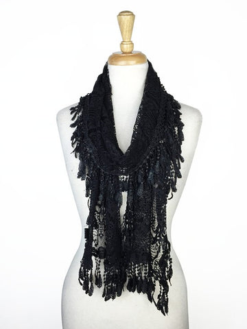 Wholesale Bulk Pack Lace Scarf Black GDYH30-01