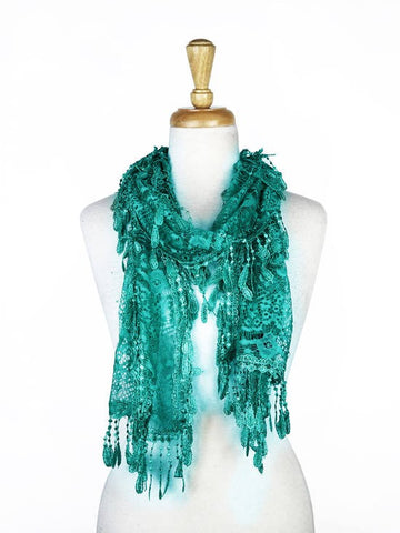 Wholesale Bulk Pack Lace Scarf Teal GDYH30-06