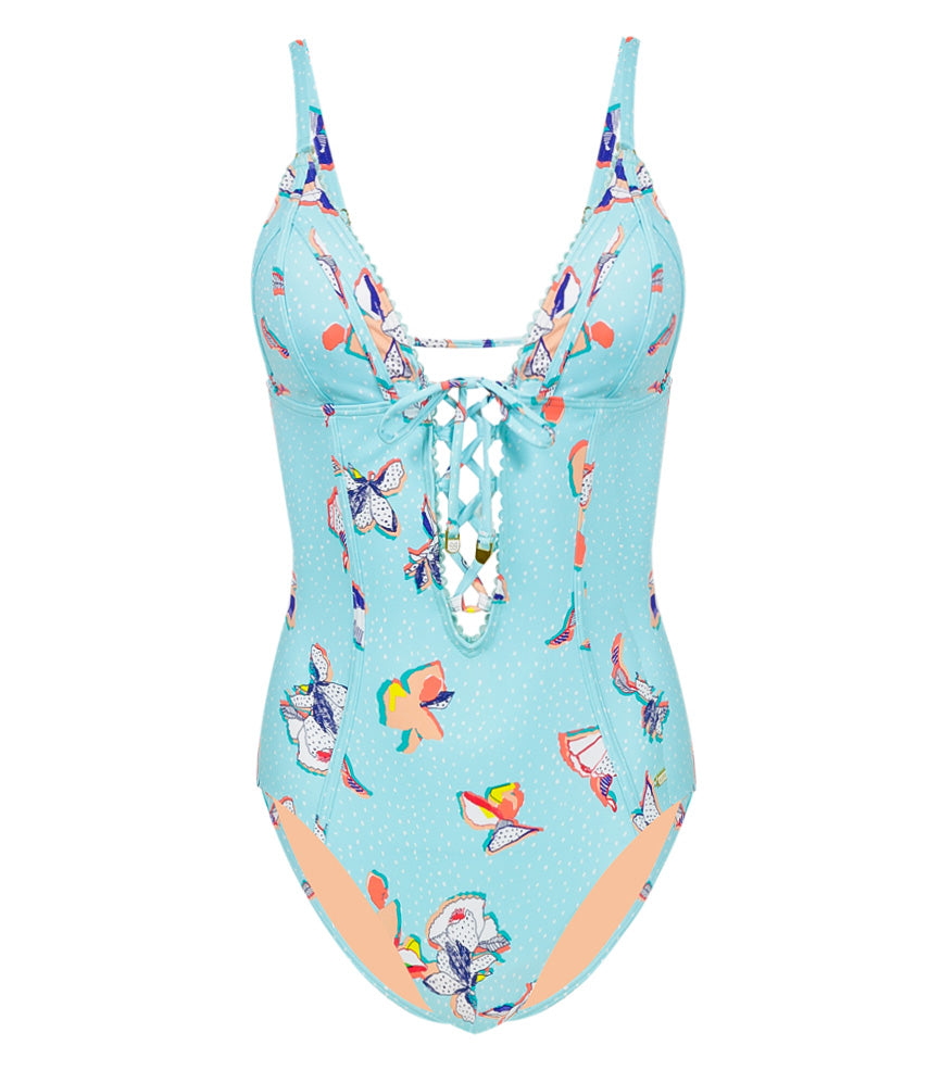 Illustrated Fantasy fixed triangle onepiece with removable cups aqua