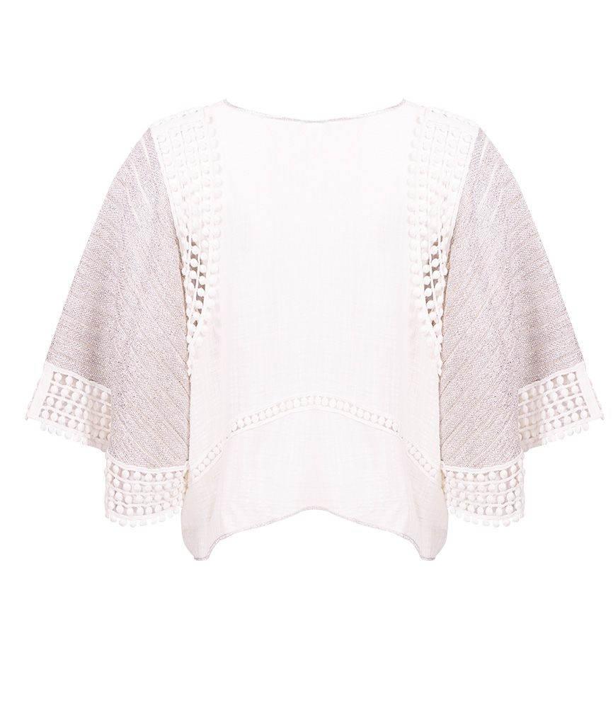 CHIO Cotton & Silver Lurex Knit Top with Lace