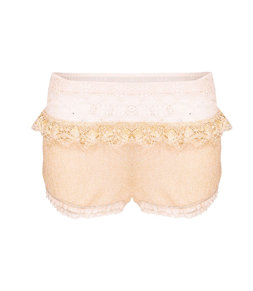 CHIO Gold Knit Lurex Shorts with Gold Lace Detail