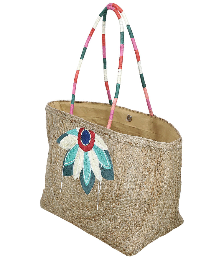 Straw Beach Bag with Flower Detail