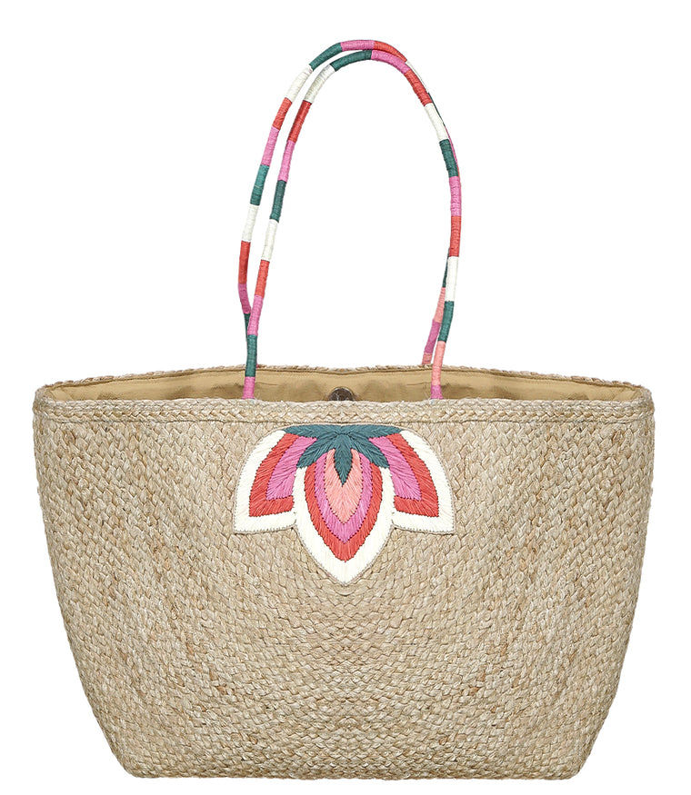 Multi Handle Straw Beach Bag