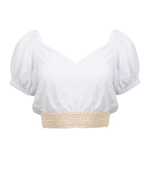 Pitusa Crochet Crop Top White