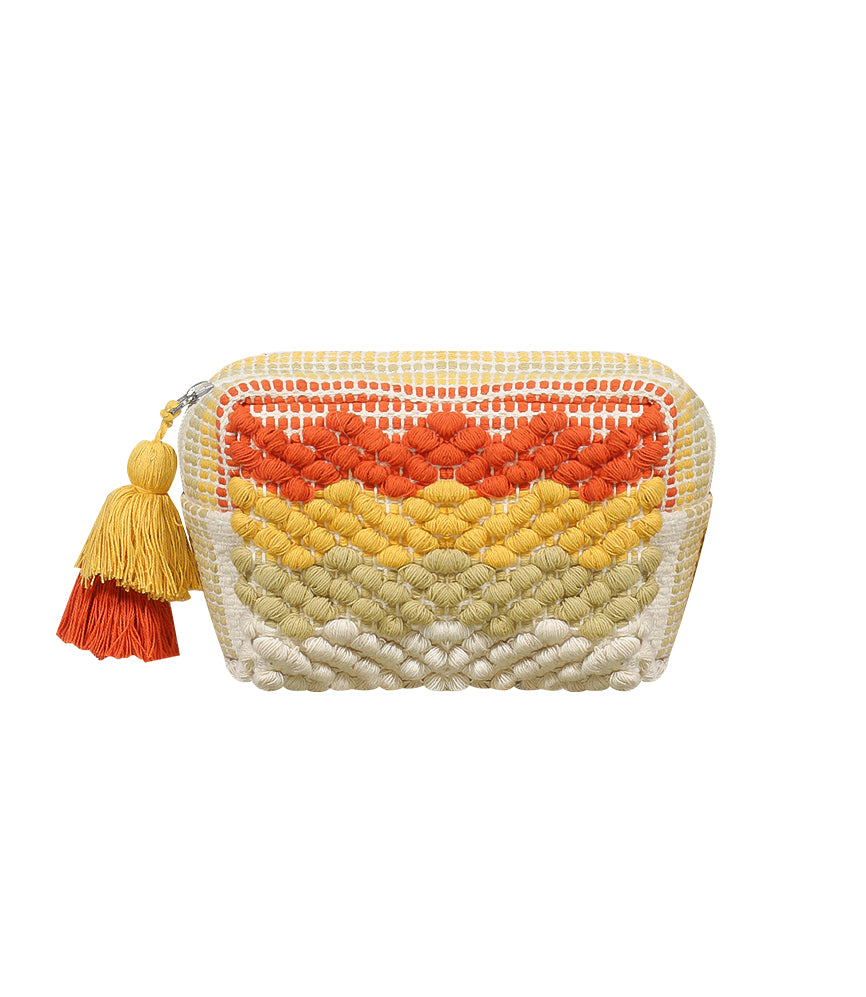Orange & Mustard Tassel Pouch