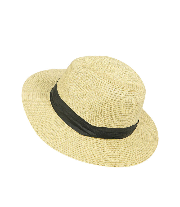 Panama Hat Beige with Black Band