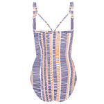 Disrupted Lines Plus Cup Ruched One piece with Fixed Cups Astral