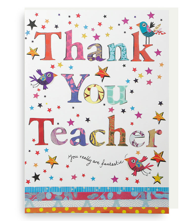 Giant Thank You Teacher Wordy Card