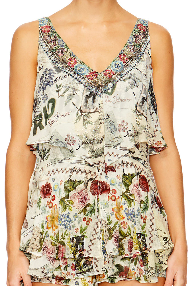 Memory Lane Playsuit W/ Tiered Overlay