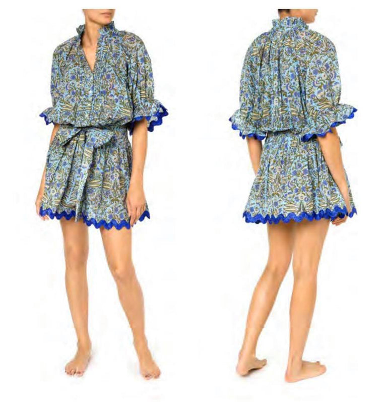 Temple Flower Print Blouson Dress With Sash Ties Blue/Cobalt