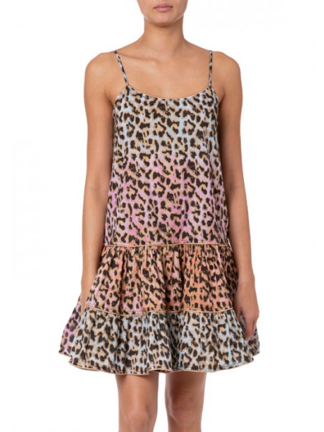 Tie Dye Leopard Print Strappy Dress With Lurex Piping