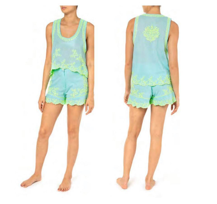 High Low Top With Lotus Embroidery Aqua/Neon Yellow