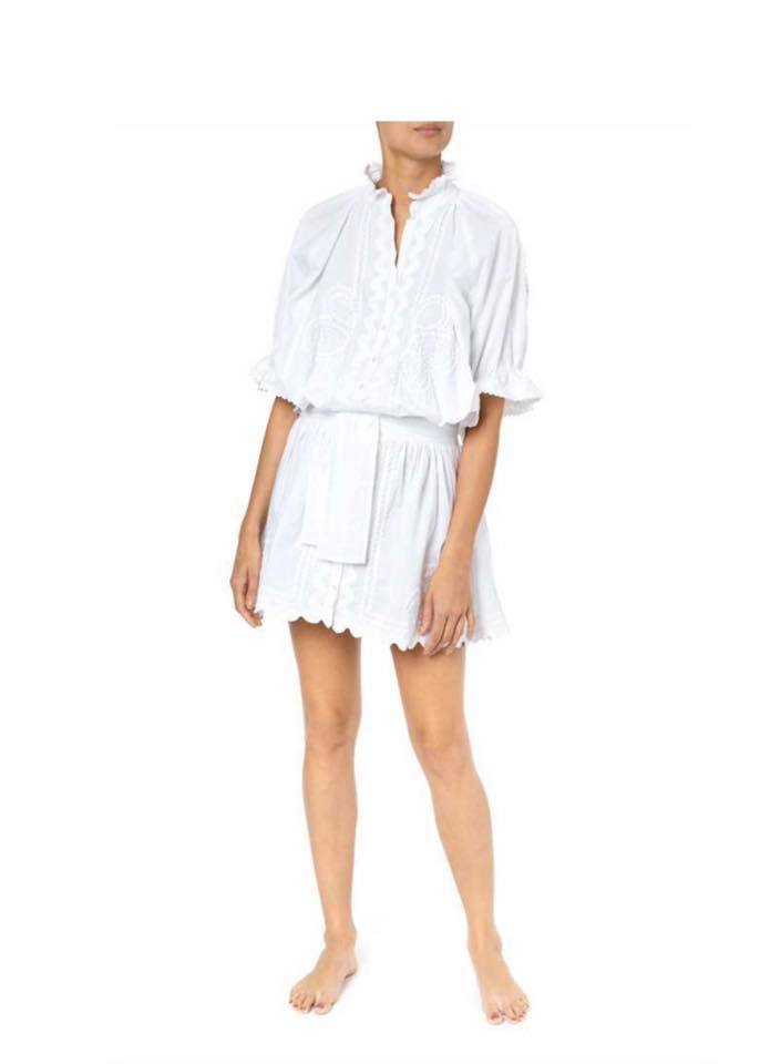 Poplin Blouson Dress With Ric Rac Embroidery White