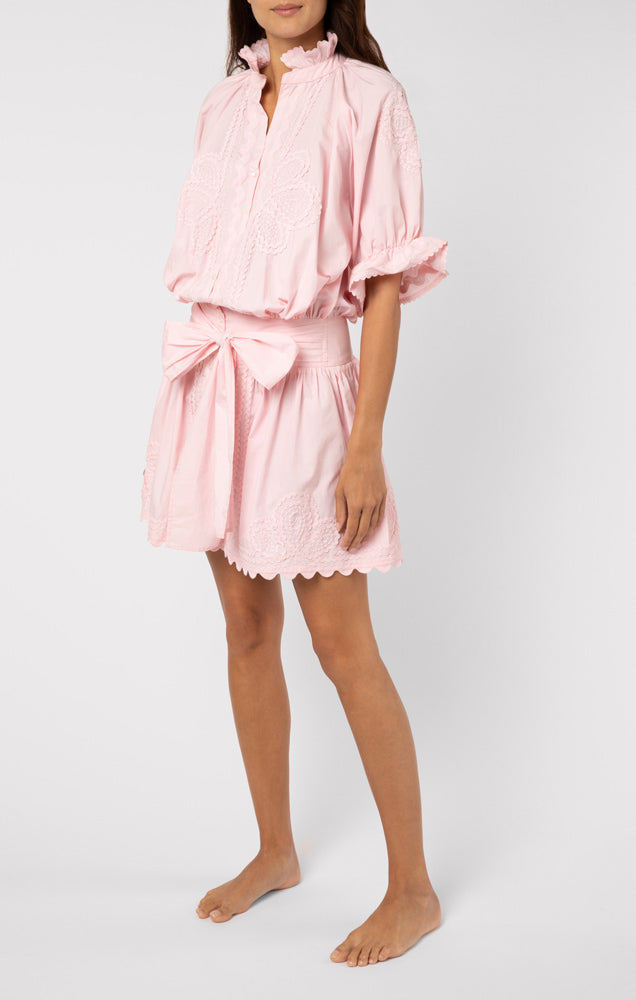 Poplin Blouson Dress With Ric Rac Embroidery Shell Pink