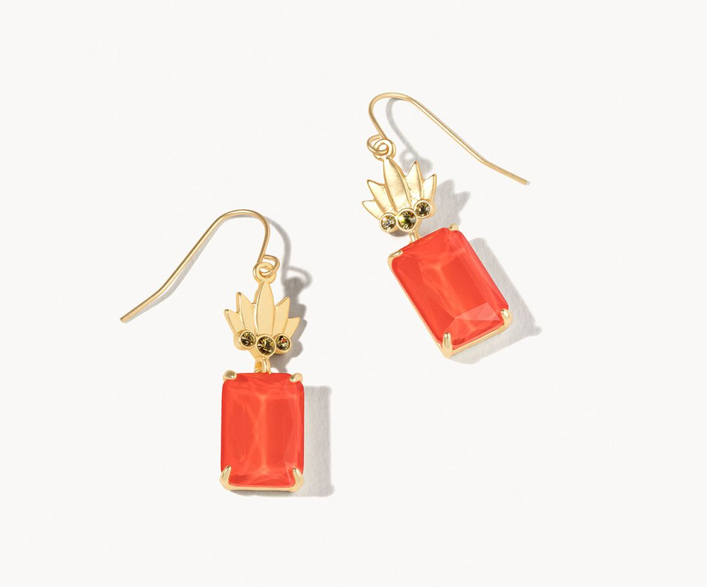Mermaid Glass Pineapple Earrings Coral