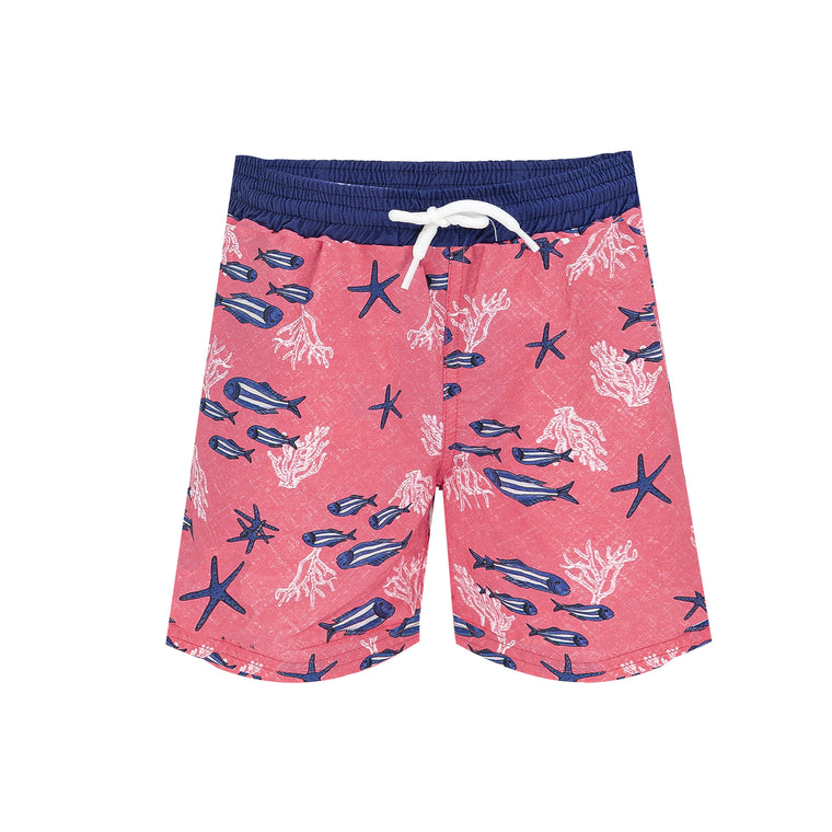 Lopez Board Short with Fish Print Coral