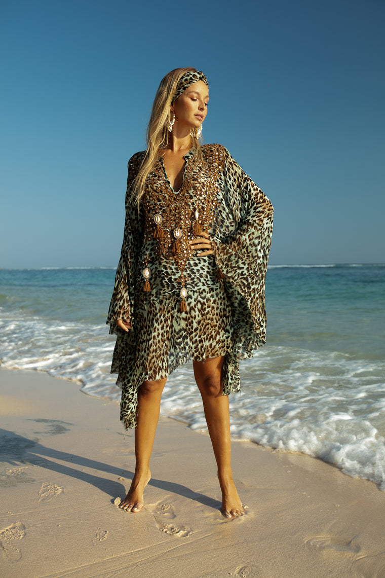 Ashanti Kaftan Jungle Aqua
