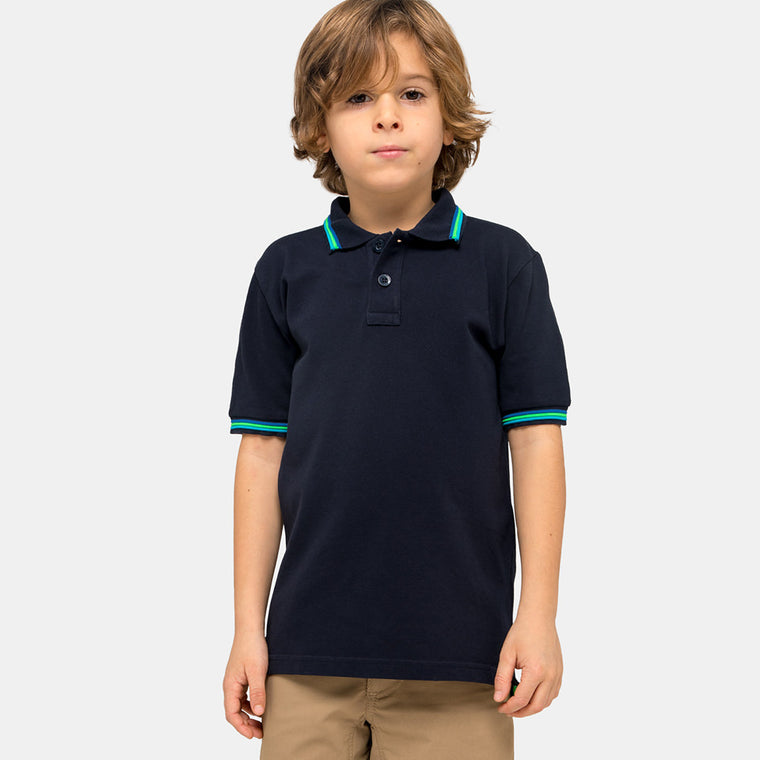 boy wearing a blue polo shirt