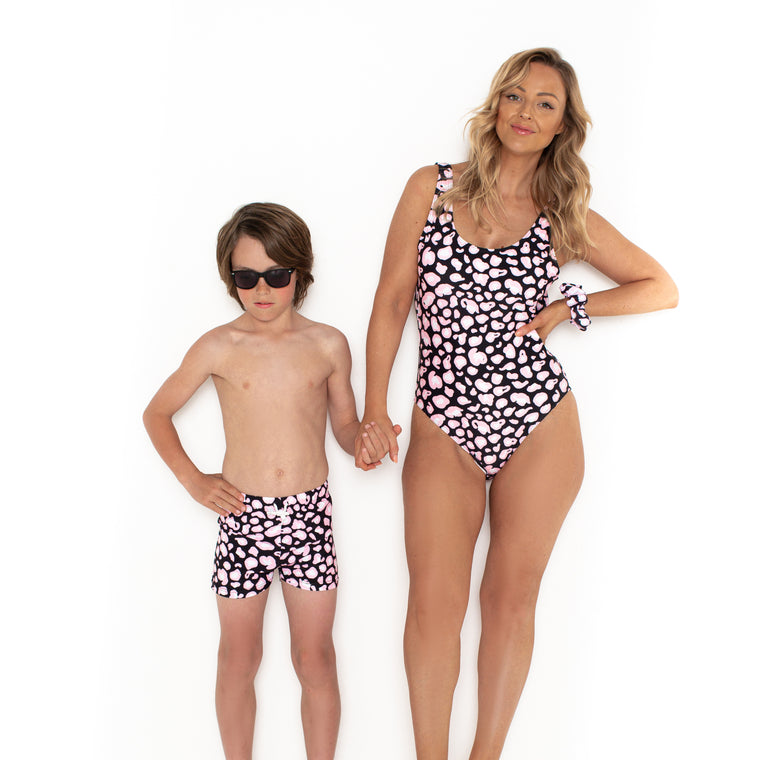 Mini Boys Hugh Trunks Onyx Leopard