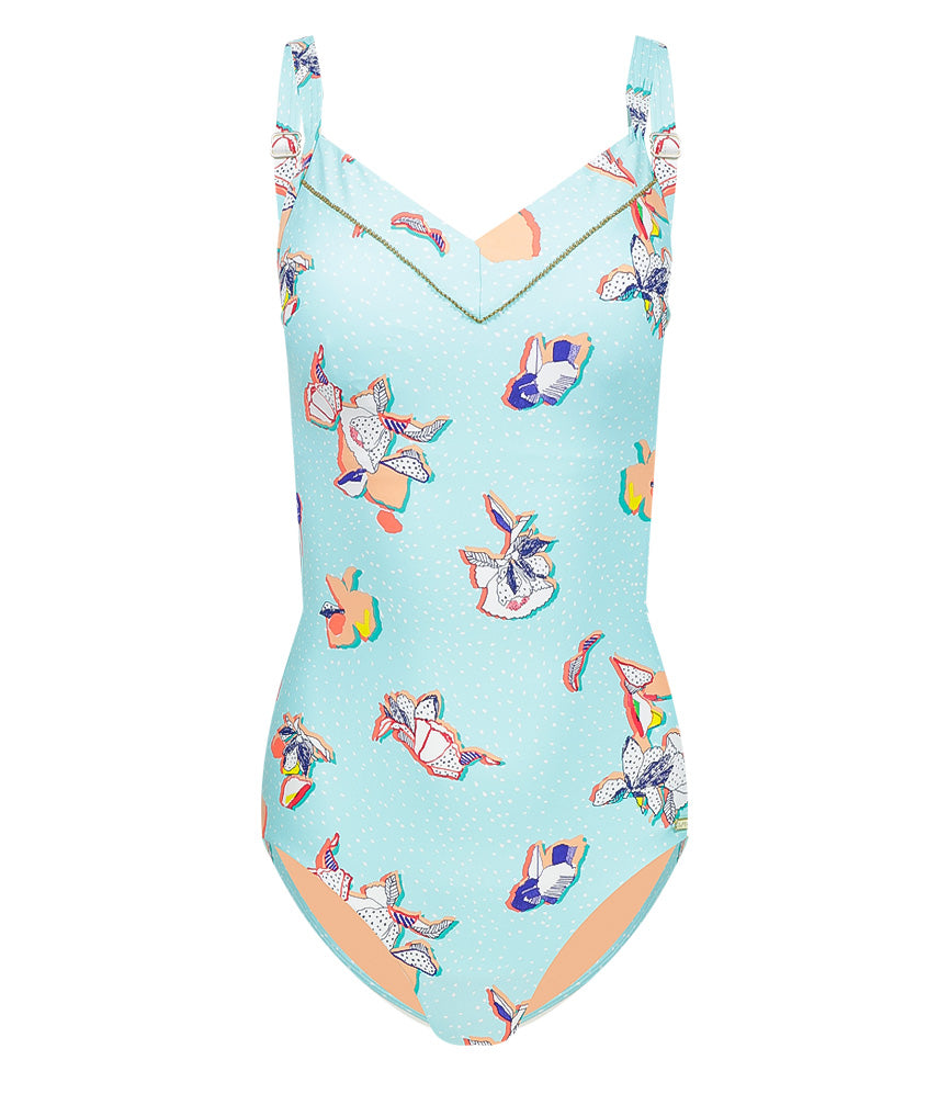Illustrated Fantasy plus cup V onepiece with hidden underwire and removable cups aqua