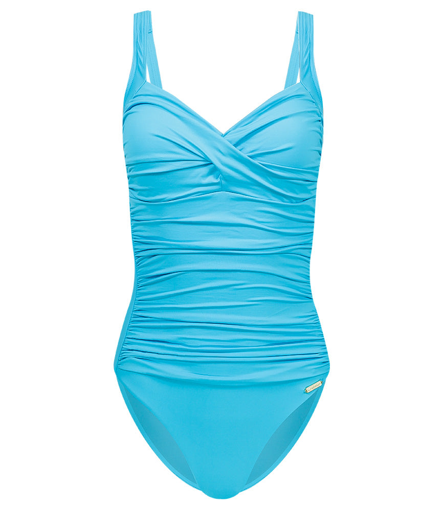 Solids plus cup twist front onepiece with fixed soft cups bachelor blue