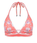 Triangle Bikini Top Salmon Flower Print