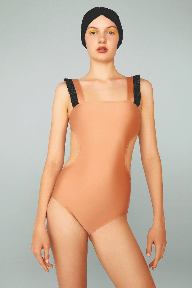 Adriana Degreas Cut Out Swimsuit with Faux Leather Detail Rose