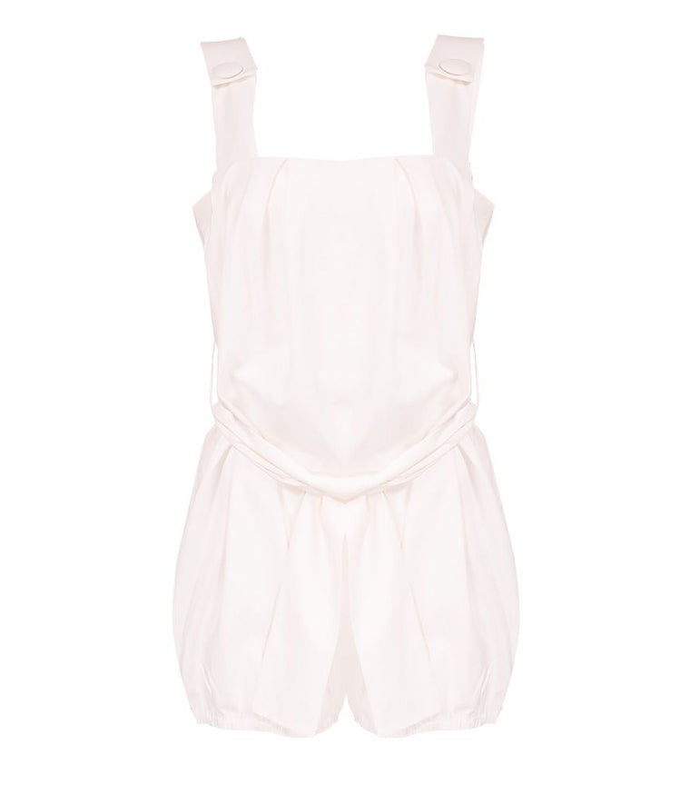 Adriana Degreas Linen Solid Playsuit Off White