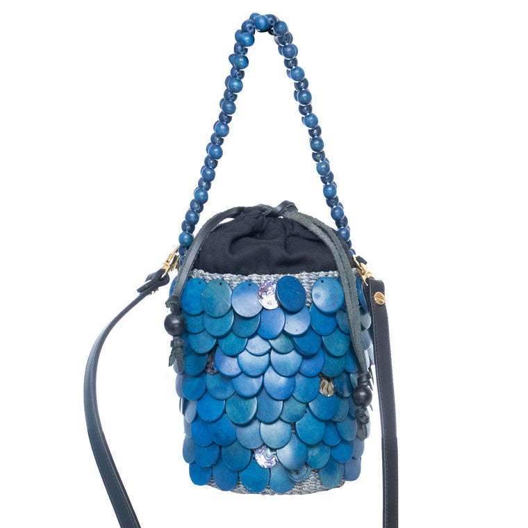 Fishscale Handbag Blue