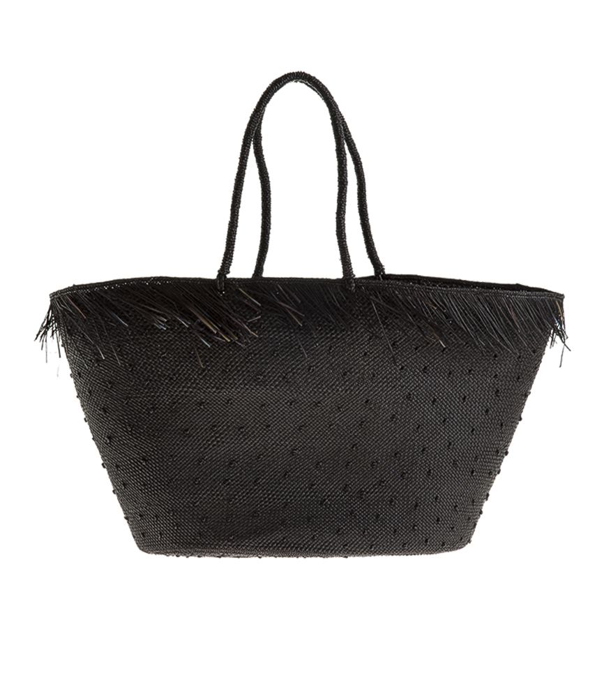 Artesano Brisa Weave Fringes Bag in Black with knots
