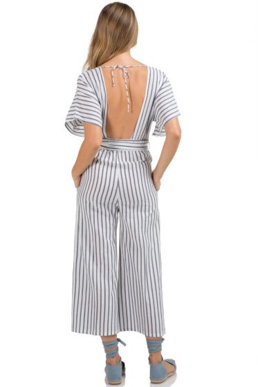 Romper Ruffle Top Off Shoulder Blue/White Stripe