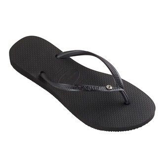 Womens Slim Crystal Glamour Flip Flops Black
