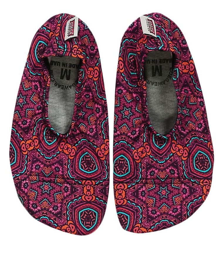 Coega Maroon Print Pool and Beach Shoes